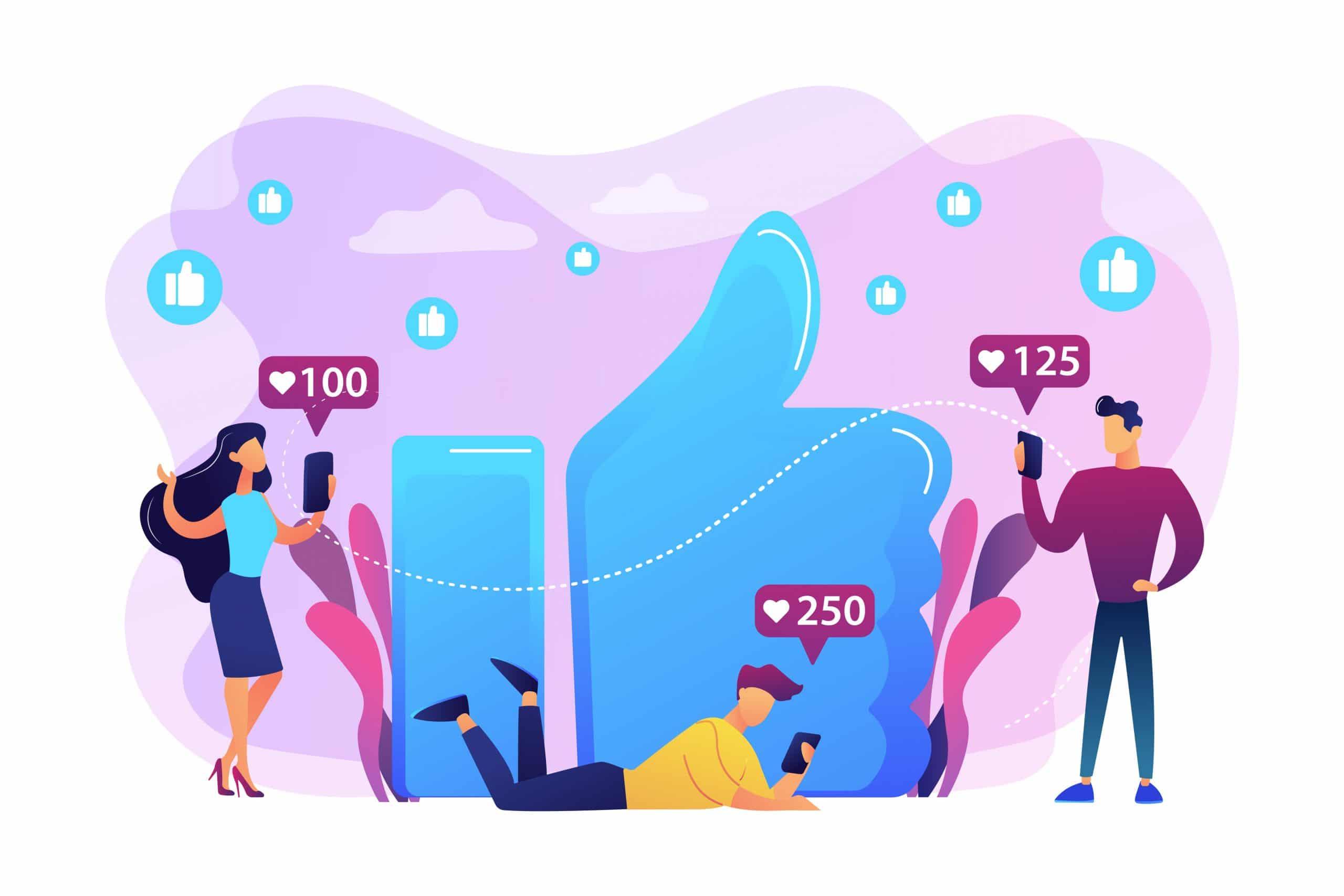 Pouce bleu comme interaction pour les réseaux sociaux