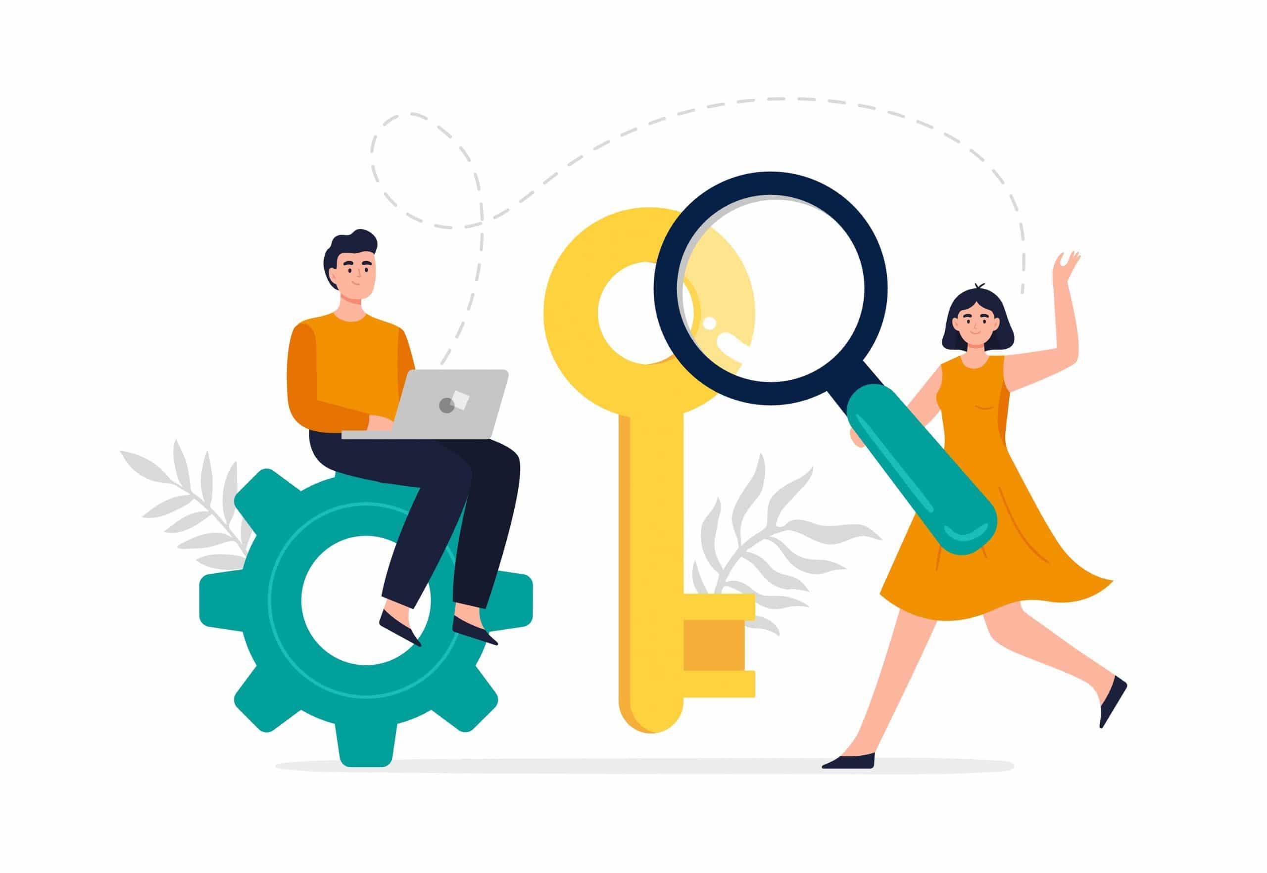 2 experts travaillant sur la stratégie de mots-clés d'un site web