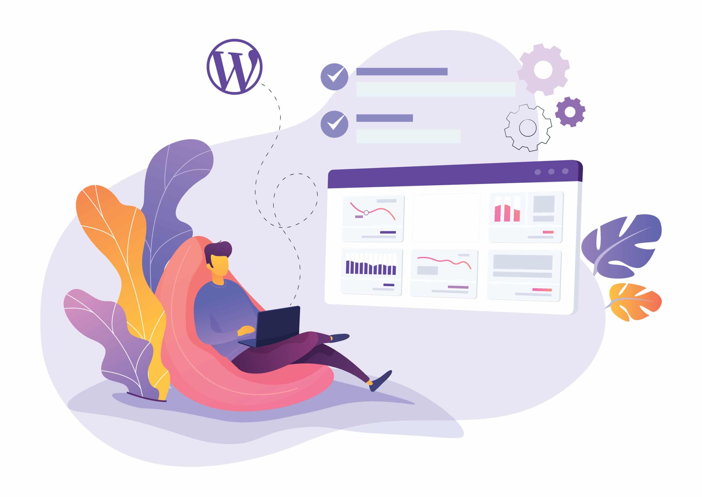 Illustration d'un développeur utilisant des plugins pour le CMS WordPress
